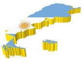 vectors 3D map of Argentina