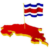 three-dimensional image map of Costa Rica with the national flag