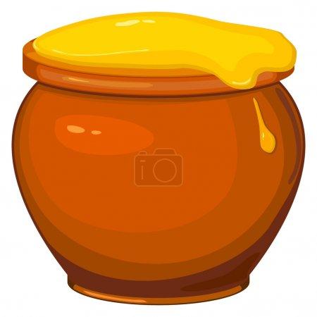 Illustration for Vector illustration of cartoon pot of honey - Royalty Free Image