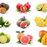 Set of exotic fruits isolated on white background...