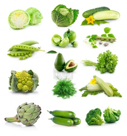 Photo for Set of fresh green vegetables isolated on white background - Royalty Free Image