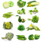 Set of fresh green vegetables isolated on white background