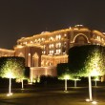 Emirates Palace Garden in the night. Abu Dhabi...