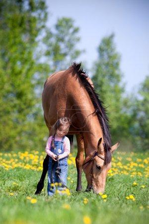 Photo pour Enfant et baie trakehner cheval debout ensemble sur le terrain au printemps. - image libre de droit