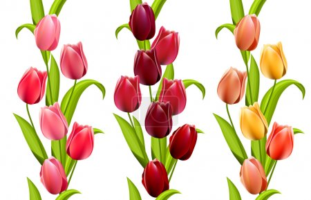 Vertical seamless patterns with tulips