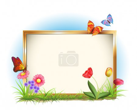 Illustration for Photo frame with spring flowers and butterflies - Royalty Free Image
