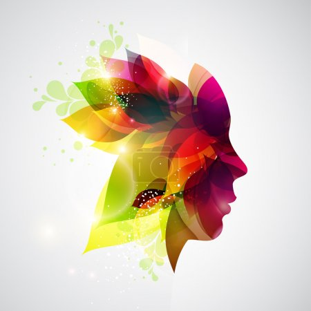 Illustration for Silhouette of woman with flowers. - Royalty Free Image