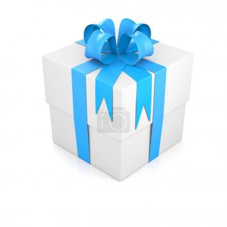 Photo pour Coffret cadeau attaché avec ruban bleu. rendu 3D - image libre de droit