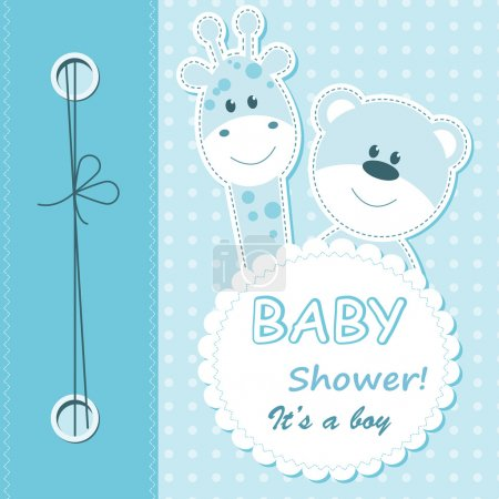 Vector baby boy scrapbook card