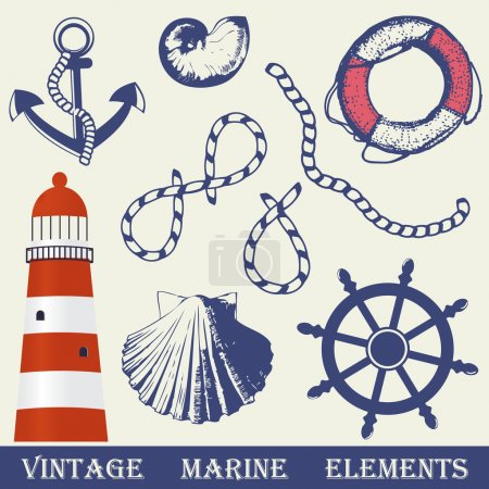 Vintage marine elements set. Includes anchor, rope, wheel, lighthouse and shells.