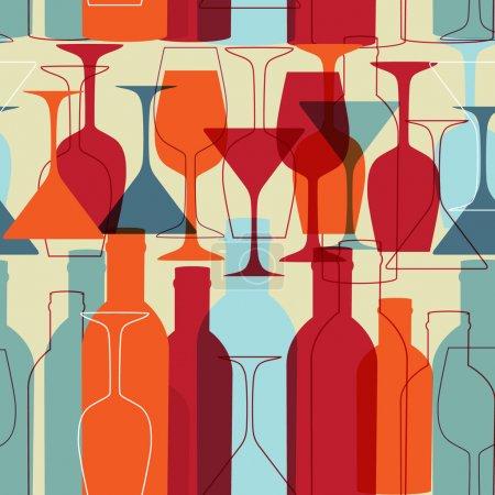 Illustration pour Fond sans couture avec des bouteilles de vin et des verres - image libre de droit