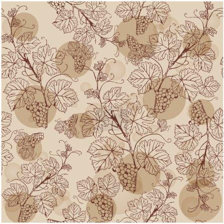 Illustration pour Modèle sans couture vintage avec branche de raisin - image libre de droit