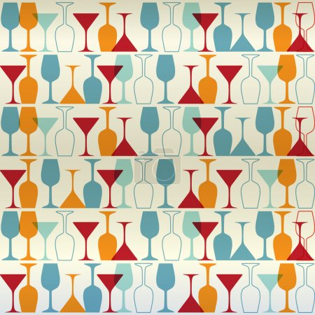 Illustration for Seamless background with wine bottles and glasses - Royalty Free Image