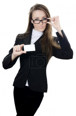 The business woman with the card