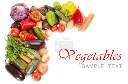 Photo for Assortment of fresh vegetables isolated on white - Royalty Free Image