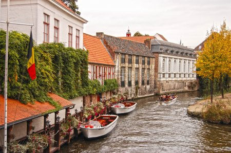 View of canal and houses at Bruges, Belgium