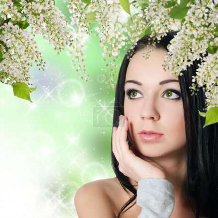 Beautiful woman with spring colours. Skincare
