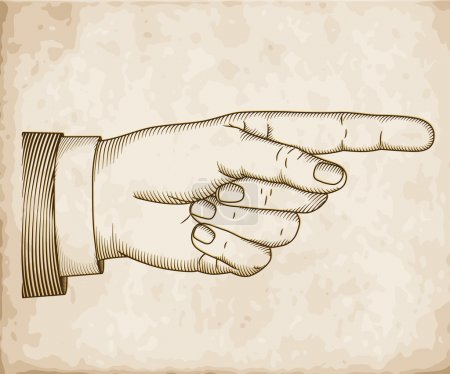 Illustration for Hand with pointing finger on old paper. Vector EPS 10 illustration. - Royalty Free Image