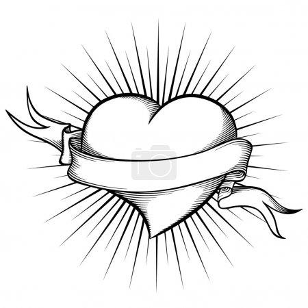 Illustration pour Coeur avec ruban en style tatouage. Illusion vectorielle dans un style graphique - image libre de droit