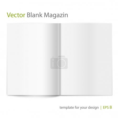 Vector blank magazine on white background. Template for design