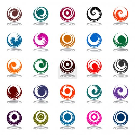 Spiral movement and rotation in circle shape. Design elements se