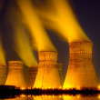 The cooling towers at night of the nuclear power g...