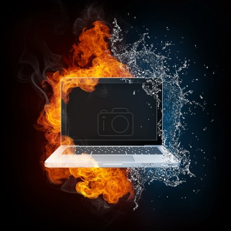 Laptop in Fire and Water