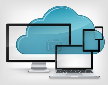 Photo for Cloud Service Isolated on Grey Gradient Background. Vector Illustration. - Royalty Free Image