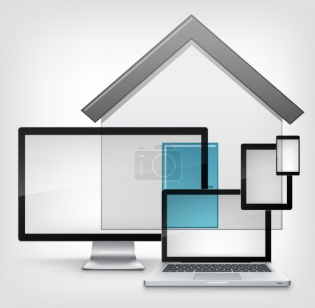 Photo for Home Concept. Information Medium on Grey Gradient Background. Vector. - Royalty Free Image