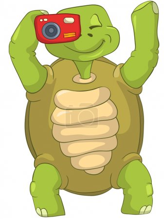 Illustration for Cartoon Character Funny Turtle Isolated on White Background. Vector EPS 10. - Royalty Free Image