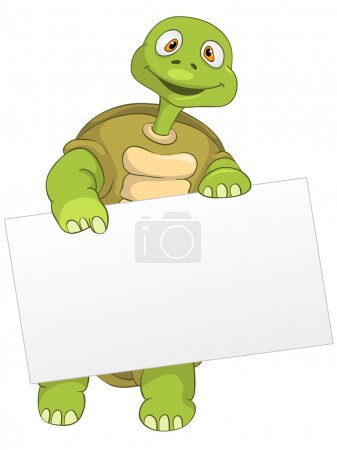 Illustration for Cartoon Character Funny Turtle Isolated on White Background. Look Out. Vector EPS 10. - Royalty Free Image