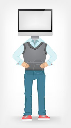 Illustration for Computer Guy Isolated on Grey Gradient Background. Vector EPS 10. - Royalty Free Image