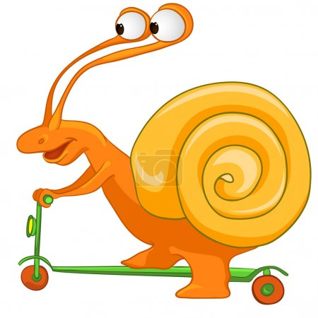 Cartoon Character Snail Isolated on White Background. Vector.