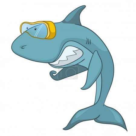 Illustration for Cartoon Character Shark Isolated on White Background. Vector. - Royalty Free Image