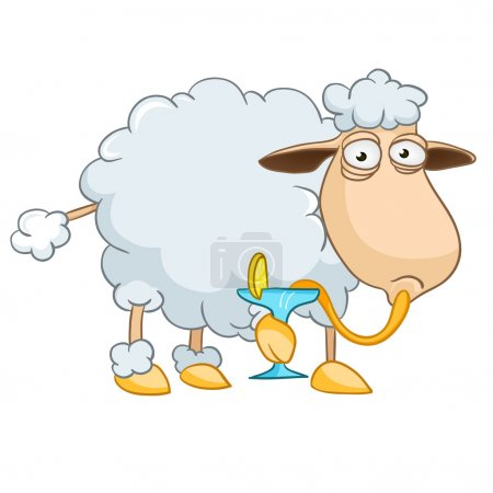 Illustration for Cartoon Character Sheep Isolated on White Background. Vector. - Royalty Free Image