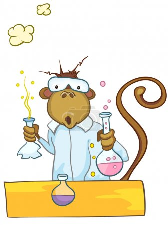 Illustration for Cartoon Character Monkey in Chemistry Class Isolated on White Background. Vector. - Royalty Free Image