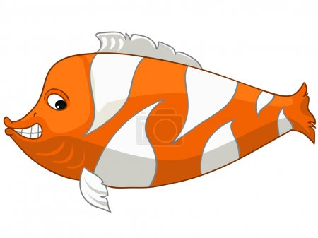 Illustration for Cartoon Character Fish Isolated on White Background. Vector. - Royalty Free Image