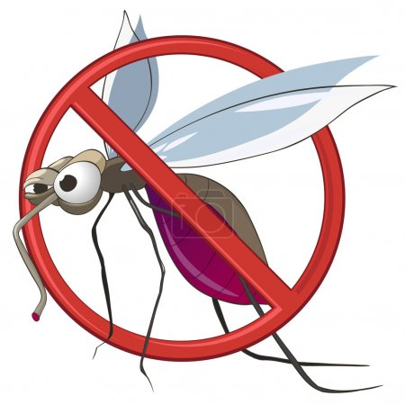 Photo for Cartoon STOP Mosquito Isolated on White Background. Vector. - Royalty Free Image