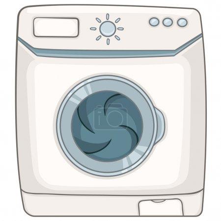 Illustration pour Dessin animé Home Appliences Machine à laver isolée sur fond blanc. Vecteur . - image libre de droit