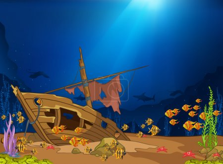 Photo for Ocean Underwater World Cartoon. Coral Reef with Alga and Fish. Vector. - Royalty Free Image