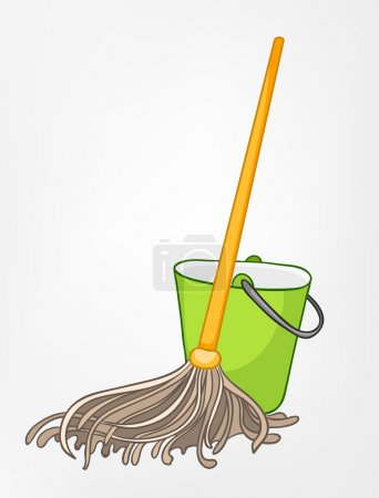 Photo for Cartoon Home Miscellaneous Mop Isolated on White Background. Vector. - Royalty Free Image