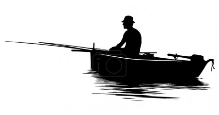 Illustration for Fisherman in a boat silhouette - Royalty Free Image