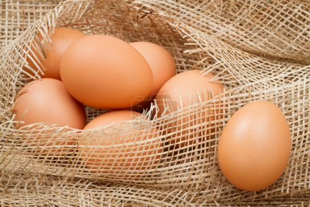 Photo for Brown eggs on burlap - Royalty Free Image