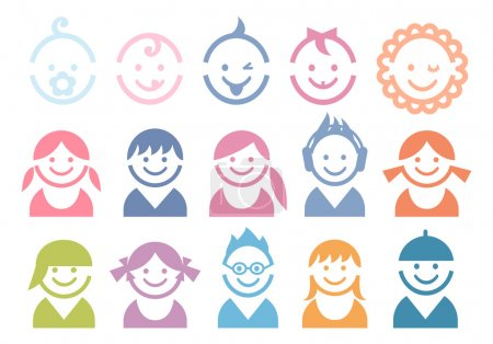 Illustration for Baby and children faces, vector icon set - Royalty Free Image