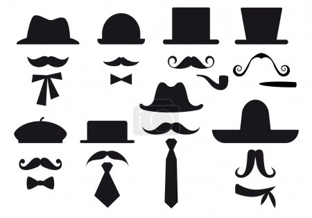Illustration for Mustaches, hats and ties, gentleman vector set - Royalty Free Image