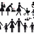 Mother with baby and children, vector icon set...