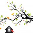 Bird house on spring tree with green leaves, vecto...