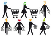 Smart shopper  vector icon set