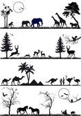 Animal background set vector