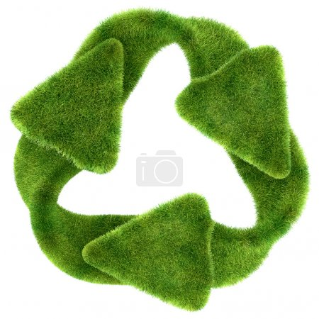 Ecological sustainability: green grass recycling symbol